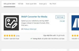 Cài đặt plugin Webp Converter for Media