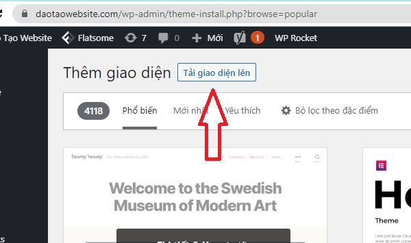 Tải lên giao diện website